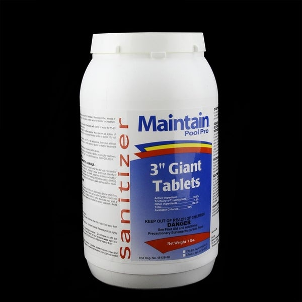 "Maintain Pool Pro Sanitizer Concentrated Stabilized Chlorinating 3"" Giant Tablets 7lbs - White"