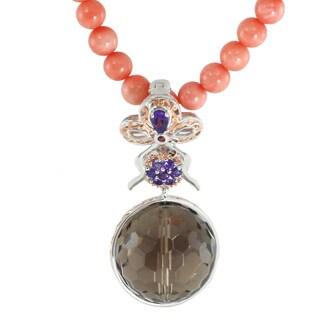 Michael Valitutti Palladium Silver Smoky Quartz Bead & Multi Gemtone Enhancer Toggle Necklace