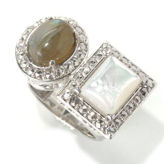 Dallas Prince Designs Sterling Silver Labradorite, Mother of Pearl & Marcasite Framed Wrap Ring