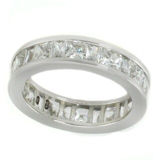 Michael Valitutti Sterling Silver Princess & Baguette Cubic Zirconia Band Ring
