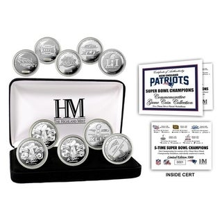 New England Patriots 5-Time Super Bowl Champions Silver Coin Set - Multi-color