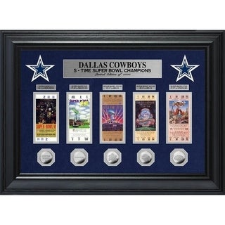 Dallas Cowboys 5 Time Super Bowl Champions Deluxe Silver Coin Ticket Collection Multi Color