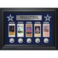 Dallas Cowboys 5 Time Super Bowl Champions Deluxe Silver Coin & Ticket Collection - Multi-color
