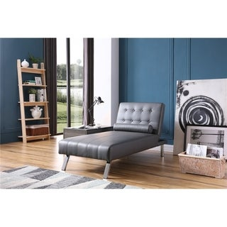 Grey Faux Leather Button Tufted Back Convertible Chaise Lounger