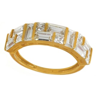 Michael Valitutti 10K Baguette & Princess Cubic Zirconia Ring