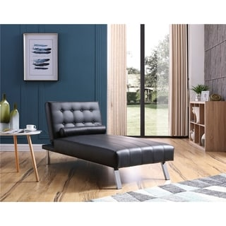 Button-tufted Back Convertible Chaise Lounger