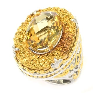 Michael Valitutti Palladium Silver Oval Brazilian Canary Citrine & Golden Drusy Ring (3 options available)