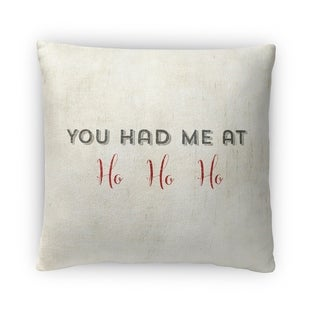 Kavka Designs ivory/ black white/ red ho ho ho fleece throw pillow