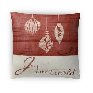 Kavka Designs ivory/ red joy to the world fleece throw pillow