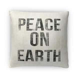 Kavka Designs ivory/ black peace on earth fleece throw pillow