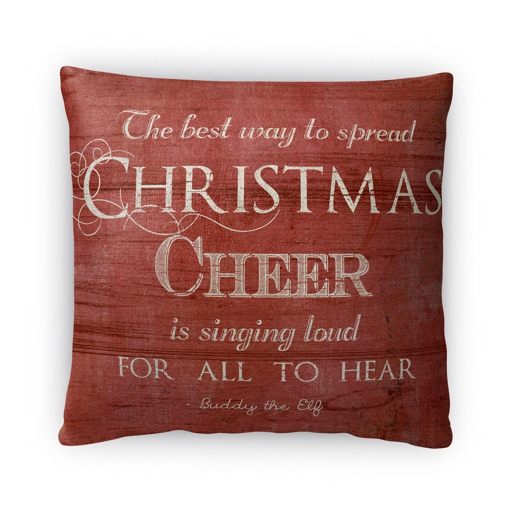 Kavka Designs red/ white christmas cheer throw pillow (Square - 16 x 16 - Americana)