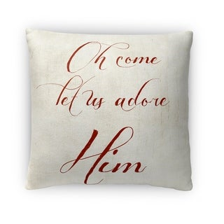 Kavka Designs ivory/ red oh come let us adore him ll fleece throw pillow