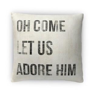 Kavka Designs ivory/ black oh come let us adore him fleece throw pillow