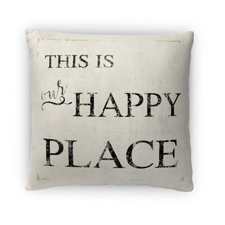 Kavka Designs ivory/ black this is our happy place fleece throw pillow