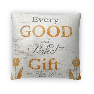 Kavka Designs grey/ orange/ yellow the perfect gift fleece throw pillow