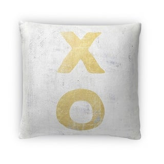 Kavka Designs gold/ grey xo a fleece throw pillow