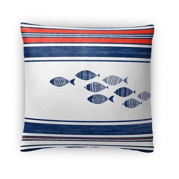 Kavka Designs blue red white blue fish fleece throw pillow