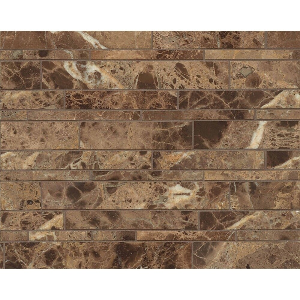 Random Linear Mosaic Polished, Brown, Size 12 x 16