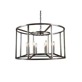 Y-Decor Cage Drum Candle-Style Chandelier in Black Finish
