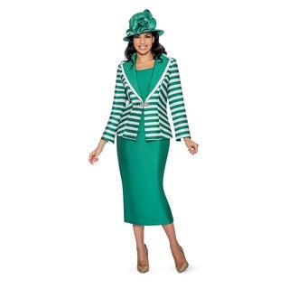 Giovanna Collection Women's Stripe and Solid Layered Collar 3-Piece Skirt Suit (Option: 16)