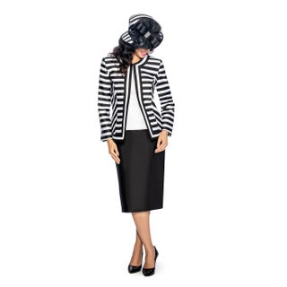 Giovanna Collection Women's Size Non-Collar Stripe 3-Piece Skirt Suit (More options available)
