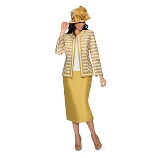 Giovanna Collection Women's Size Non-Collar Stripe 3-Piece Skirt Suit (Option: Gold)