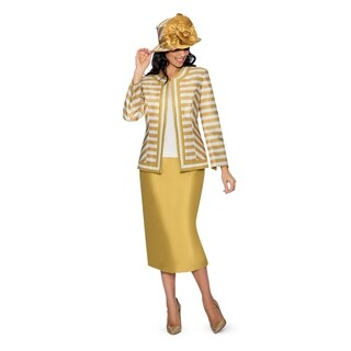 Giovanna Collection Women's Size Non-Collar Stripe 3-Piece Skirt Suit