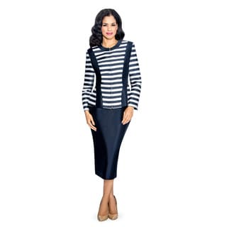 Giovanna Collection Women's Stripe Zip Front Jacket 2-Piece Skirt Suit