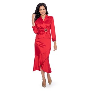 Giovanna Signature Women's Stretch Taffeta Rhinestone Buckle 2-Piece Skirt Suit