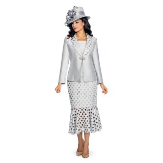 Giovanna Signature Women's Laser Cut Out Detail 3-Piece Skirt Suit (Option: 16)