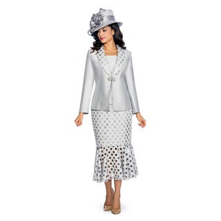 Giovanna Signature Women's Laser Cut Out Detail 3-Piece Skirt Suit