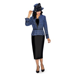 Giovanna Collection Women's Brocade Jacket 3-Piece Skirt Suit