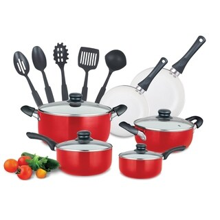15 Piece Ceramic Black Soft handle Cookware Set