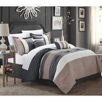 Chic Home Caleb Hotel Collection Taupe Detailed Embroidery 6-Piece Comforter Set