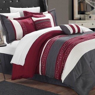 Chic Home Caleb Hotel Collection Burgundy Detailed Embroidery 6-Piece Comforter Set