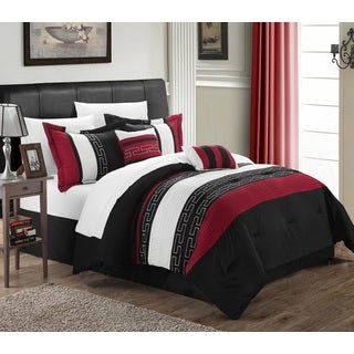 Chic Home Caleb Hotel Collection Black Detailed Embroidery 6-Piece Comforter Set