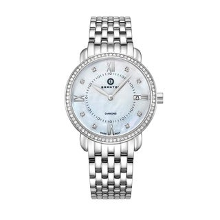 "Granton Women's ""Marquise"" Mother of Pearl & Diamond Dial Swiss Quartz Silver-Tone Watch"