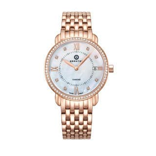 "Granton Women's ""Marquise"" Mother of Pearl & Diamond Dial Swiss Quartz Rose-Tone Watch|https://ak1.ostkcdn.com/images/products/16994300/P23277043.jpg?impolicy=medium"
