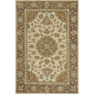 "Hand-hooked Owen Ivory/ Charcoal Rug - 7'9"" x 9'9"""