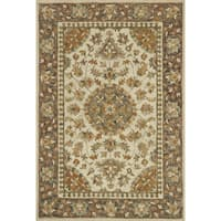 Hand-hooked Owen Ivory/ Charcoal Rug - 7'9 x 9'9
