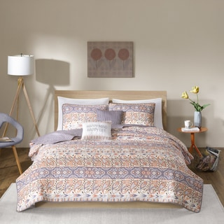Intelligent Design Mae Grey Printed And Quilted 5-piece Coverlet Set