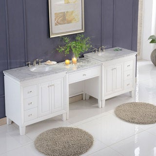 "Silkroad Exclusive 103"" Transitional Bathroom Vanity Carrara Marble Top Single Sink Cabinet"