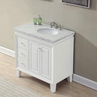 "Silkroad Exclusive 36"" Transitional Bathroom Vanity Carrara Marble Top Single Sink Cabinet"
