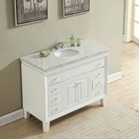 "Silkroad Exclusive 48"" Transitional Bathroom Vanity Carrara Marble Top Single Sink Cabinet"