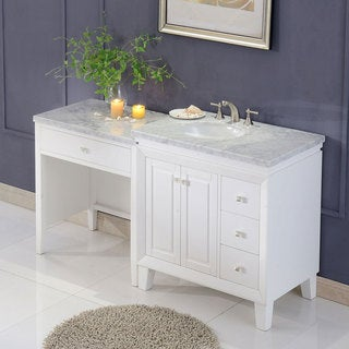 "Silkroad Exclusive 67"" Transitional Bathroom Vanity Carrara Marble Top Single Sink Cabinet"