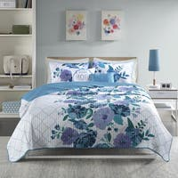 Intelligent Design Flora Blue 5-piece Printed And Quilted Coverlet Set