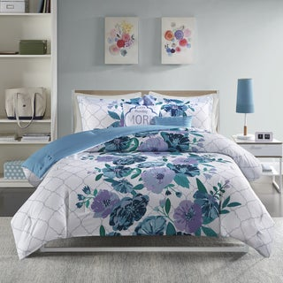 Intelligent Design Flora Blue 5-piece Printed Comforter Set