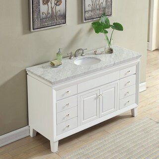 "Silkroad Exclusive 60"" Transitional Bathroom Vanity Carrara Marble Top Single Sink Cabinet"