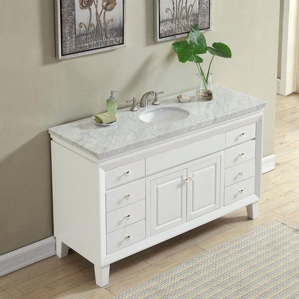 Silkroad Exclusive 60 Transitional Bathroom Vanity Carrara Marble Top Single Sink Cabinet