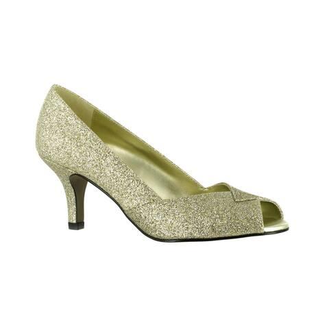 Easy Street Womens Ravish Peep Toe Evening Shoe (Gold Glitter)